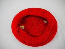 vtg Womens LL BEAN Red Wool Hat ONE SIZE Large Brim Cabbie Newsboy BERET