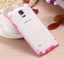 For Samsung Galaxy Note 4 - Hard TPU Gummy Rubber Transparent Clear Case Cover