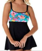 Longitude Swimsuit Plus Floral Empire Princess Swim Dress One Piece $119 Sz 16W