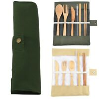 Portable Bamboo Cutlery Travel Eco-friendly Fork Spoon Straw Set Kit W/Pouch