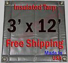 "3' x 12' Insulated Poly Tarp 1/4"" Foam Core Concrete Padding Wall Cushion Kiln"