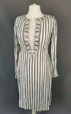 Noa Noa cream black striped lightweight beaded Indian tunic beach dress size L