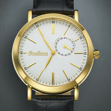 OMIKRON PURE IP GOLD CASE LEATHER MENS DATE LUXURY $635.00 ! In gift box