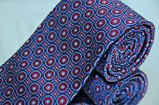 Brooks Brothers Men's Tie Blue & Merlot Medallion Woven Silk Necktie New