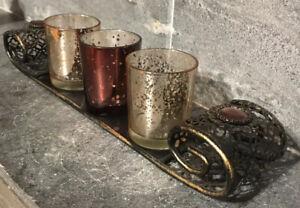 Scrollwork Gold Metal Tray Glass 3 Votives Embellished Gems Vanity SET Romance