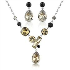 Made With Multi Color Swarovski Crystal Rhinestone Necklace Earrings Jewelry Set