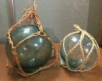 """A Lot of 2 Vintage Netted Hand-Blown Round Glass Fishing Floats, 3.5"""" and 4"""""""