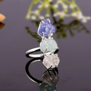 Natural Raw Herkimer And Tanzanite Three Stone Ring Statement Silver Ring