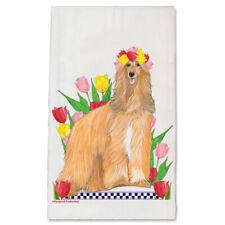 Afghan Hound Dog Floral Kitchen Dish Towel Pet Gift