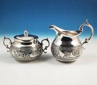 Antique Welsch Plata .900 Silver Large Creamer Sugar Bowl Set Inca Repousse Peru