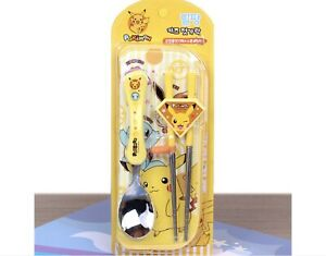 Pokemon Yellow Stainless Steel Spoon Training Chopsticks Set