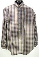 Carhartt Men's Size XL Tan & Blue Plaid Long Sleeve Button Down Shirt