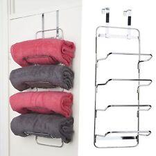 Croydex 4 Tier Hook Over Towel Rack - Chrome Bathroom Door Shower Accessory