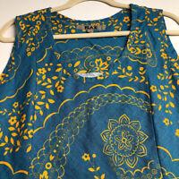 Flax Women's Sleeveless Blouse Top Medium M Blue Orange Floral Linen Scoopneck