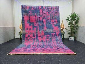 """Moroccan Boujaad Handmade Rug 6'4""""x9'7"""" Berber Abstract Pink Blue Wool Rug"""