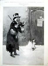 Antique Print Lawson Wood Poor Prospects Man Dog Pipe Play House Sale 1909 20th
