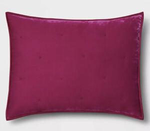 One Opalhouse Hot Pink Velvet Tufted Stitch King Sham New