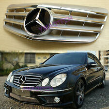 Benz 2007~2009 W211 E-Class Facelift Silver 4 Fin Chrome Star Front Grille