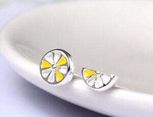 925 Solid Sterling Silver Ear Studs Earrings Assymetric Lemon Lemon Piece