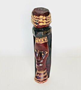 Hand Carved Wood Figurine Statue Jamaican Souvenir Folk Art Rasta Rastafarian