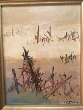 Huile sur Panneau Circa 1980 signée  À Dechiffrer abstrait abstraction lyrique