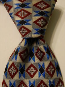 STEFANO RICCI Men's Silk XL Necktie ITALY Luxury Geometric Gray/Wine/Blue GUC