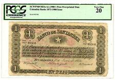 Colombia P-S831c 1 Peso (6.1.1900) MB con Resello Fecha