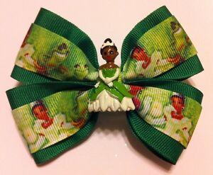 "Girls Hair Bow 4"" Wide Tiana Princess/Frog Green Grosgrain French Barrette"