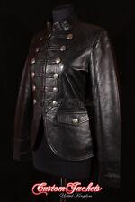 Ladies MILITARY PARADE Leather Jacket Black Waxed Designer Studded Rock Jacket