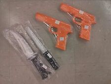 2 Rubber GUNS AND KNIFE Knives Set for Martial Arts Training Defense and Police