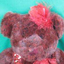Soft Red Burgundy Teddy Bear Roxanne Plush Stuffed Animal Russ Sequined Flapper