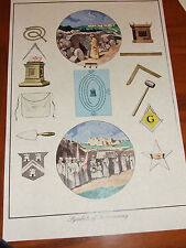 Antique Ancient Masonic Chart Symbols of Art Poster Print ring Freemasonry