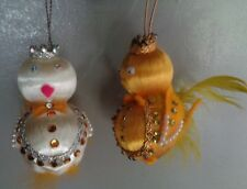 2 chicken chickie hanging ornaments vintage satin & feathers Christmas Easter