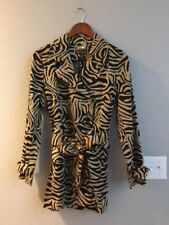 c3f263d3f8e0 Dana Buchman Animal Zebra Print Trench Coat Jacket Black & Tan Belted Size  XS