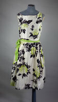 ex Jessica Howard White Floral Fit Flare Swing Dress Sleeveless Green Belt UK18