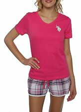 US Polo Assn Women's 2 Piece Pink V-Neck Short Sleeve Shirt and Short Pajama Set