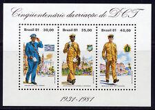 BRAZIL 1981 DEPT OF POSTS & TELEGRAPHS 50TH ANNIV SOUVENIR SHT OF 3  SCOTT 1733