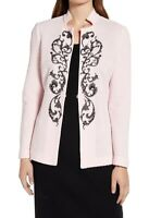 Ming Wang Womens Jackets Pink Size 1X Plus Embroidered Embellished $340 431