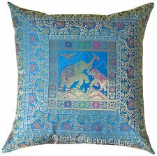"24"" Turquoise Blue Cushion Pillow Cover Elephant Brocade Sofa Throw INDIAN Decor"