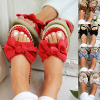 Women Slip On Sandals Bow Flat Mule Summer Sliders Espadrille Shoes Sizes US