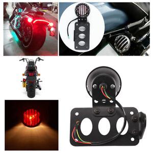 Side Mount Number License Rear Tail Light Plate Bracket For Harley Chopper UK