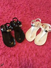 MICHAEL KORS Size 11 Jelly T Strap Sandals Flats in White