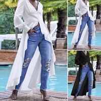 ZANZEA UK Womens Puff Sleeve Button Down Shirt Tee Top High Low Long Maxi Blouse
