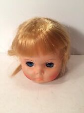 Vintage Doll Head 1960s To 1970s Blue Eyes Blonde Hair