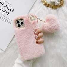 For iPhone Xiaomi Warm Plush Hairball Fashion Women Girl Soft Phone Case Cover