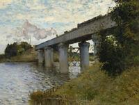 The Railroad bridge in Argenteuil Claude Monet Wall Art Print Canvas Small 8x10
