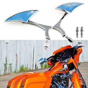 Chrome Motorcycle Clear Mirrors For Harley Road King Road Street Glide Softail