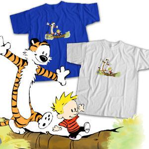 Calvin and Hobbes Log Bridge Classic Comics Mens Womens Kids Unisex Tee T-Shirt