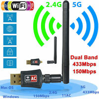 600 Mbps Dual Band 2.4/5Ghz Wireless USB WiFi Network Adapter w/Antenna 802.11AC