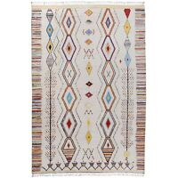 Tribal Ivory Moroccan Gabbeh Geometric Large Area Rug Hand-Knotted 10x14 Carpet